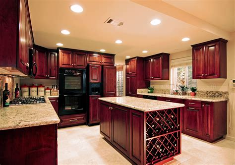 Kitchen Design Shows Large Brown Polished Wooden Cherry Kitchen Cabinet And Kitchen Island With Grey Marble