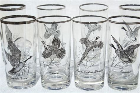 pattern drinking games set 8 vintage drinking glasses game birds pattern