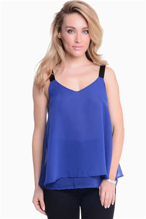ayra sleeveless top in blue