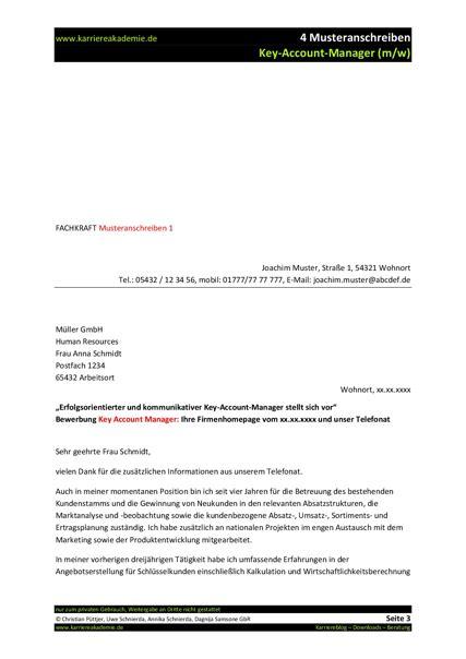 Bewerbung Formulierung Email 4 X Anschreiben Key Account Manager M W Karriereakademie