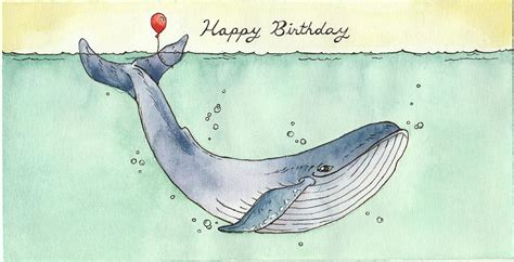 wale birthday whale happy birthday card painting by katrina davis