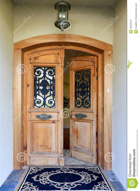 luxury house entrance porch with open door stock image