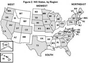 us map broken by regions hcup nationwide inpatient sle design report 2002