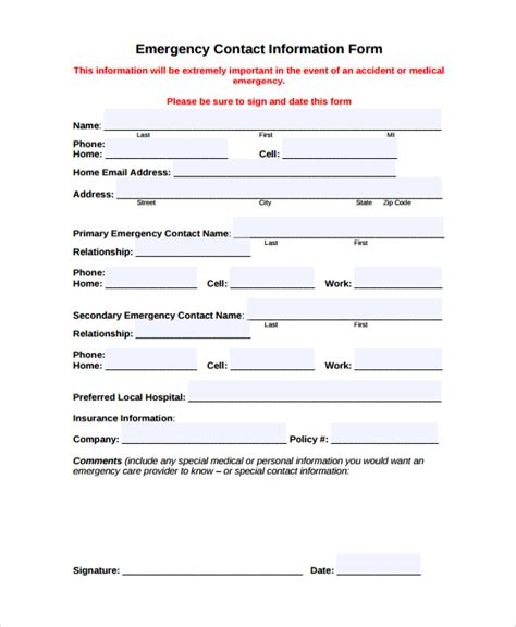 emergency information form template sle contact form 8 documents in pdf word