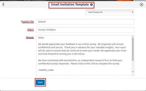 Creating Survey Invitation Email Surveyanalytics Online Survey Software Survey Email Template