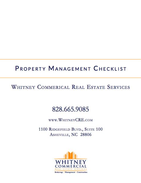 Property Management Resources Commercial Property Management Checklist