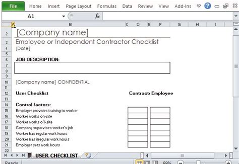 Employee Or Independent Contractor Checklist For Excel Independent Contractor Excel Template