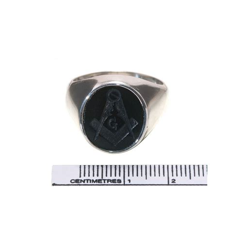 a balack onyx sterling silver masonic ring