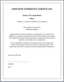 Sle Of Employment Certificate Template by Work Experience Certificate Template Microsoft Word