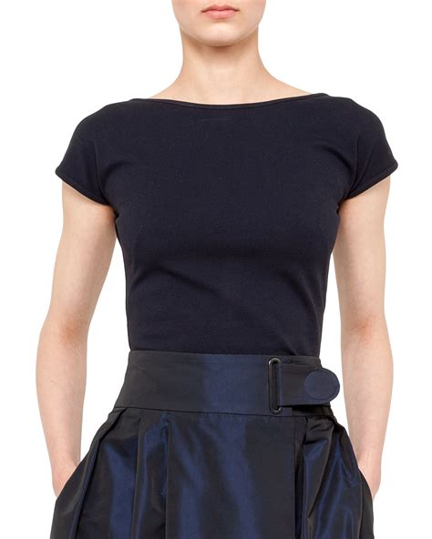 black boat neck lyst akris punto jersey capsleeve boatneck top navy in black