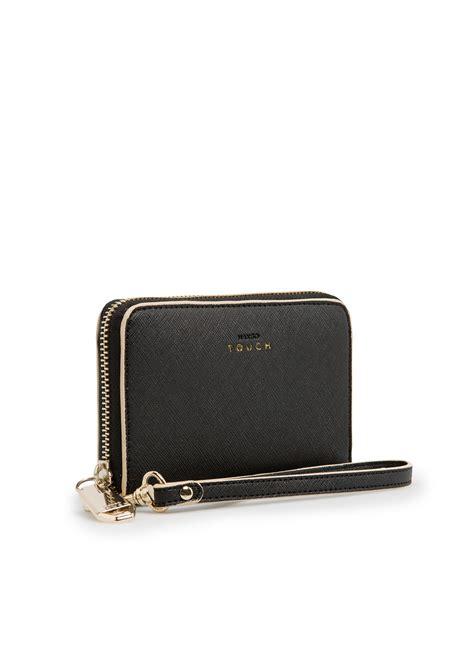 mango touch saffiano effect wallet in black lyst
