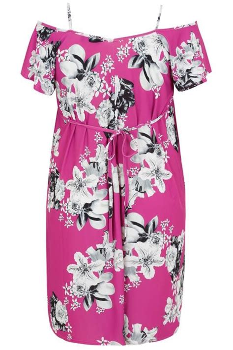 Mimi Simple Sling Geos Owl Purple Large pink grey floral cold shoulder jersey cami dress with waist tie plus size 16 to 36