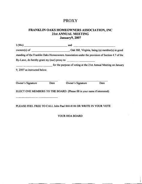 hoa proxy form free printable documents