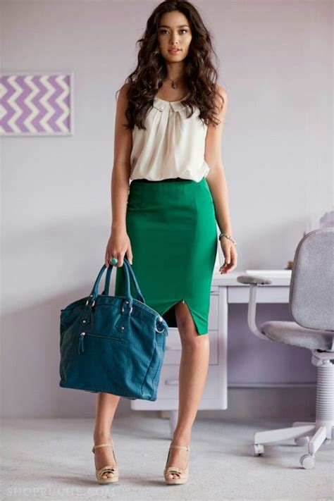 green pencil skirt and a colored top with a bright
