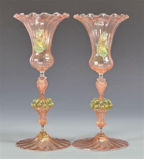 venetian glass vase lot 488 pr early venetian glass vases