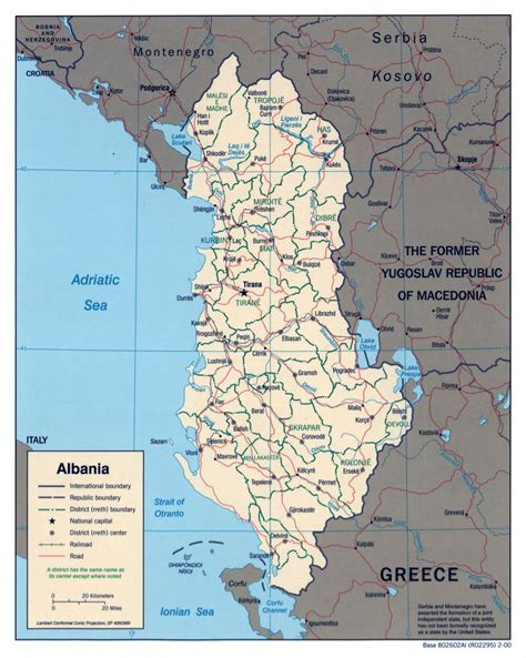 albania political map large political and administrative map of albania with