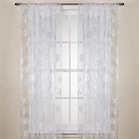 Nantucket Sheer Rod Pocket Window Curtain Panels   Bed