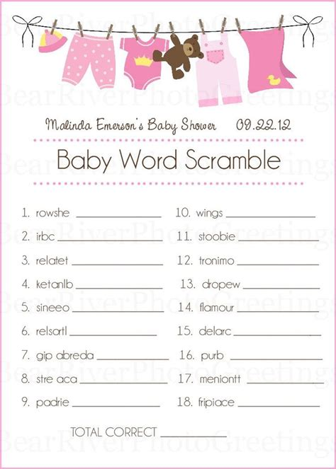 Other Words For Baby Shower by 7 Best Images About Baby Shower Word Scramble On