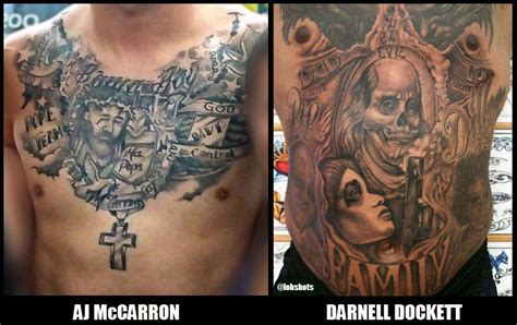 aj mccarron chest tattoo comparing chest tats aj mccarron vs darnell dockett