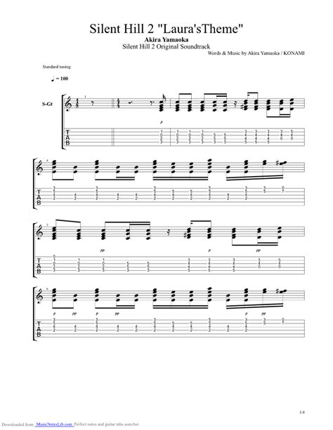 waiting room bass tab silent hill 2 theme of guitar pro tab by yamaoka musicnoteslib