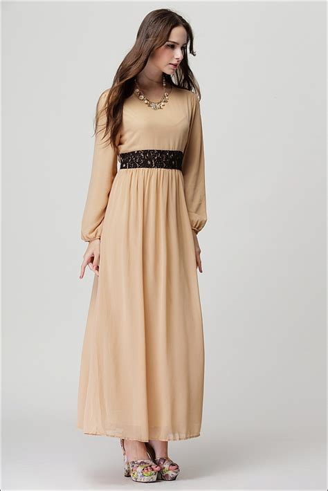 Longdress Kaftan Anesa sleeve chiffon kaftan floor length lace dress