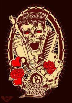 barber tattoo logo greaser art psychobilly rockabilly art pinterest