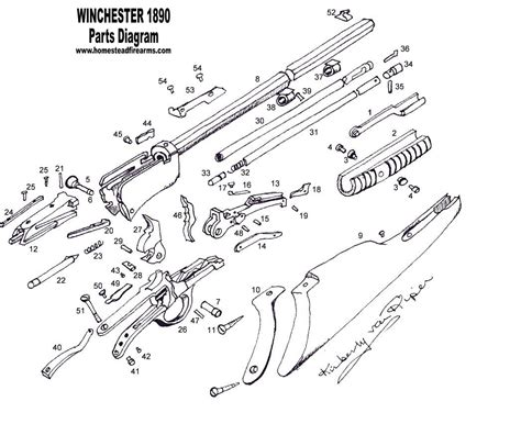 Winchester Model 1890 Schematic Parts Diagram