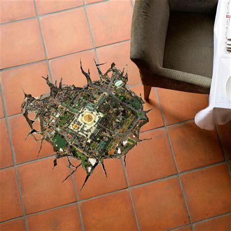 3d floor decals removable city overlook wall stickers