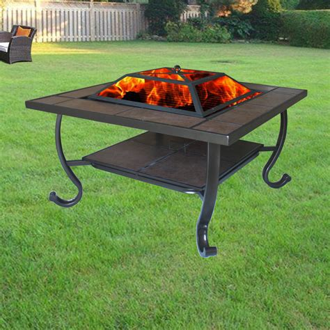 pit table uk garden firepit patio heater stove pit square brazier