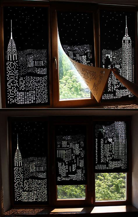 skyscraper curtains holeroll curtains give any room a panoramic city