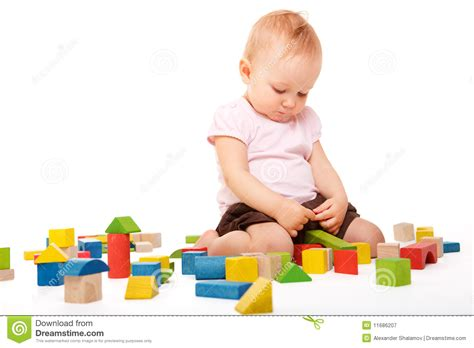 Small Cute House Plans Playing With Blocks Stock Image Image Of Infant