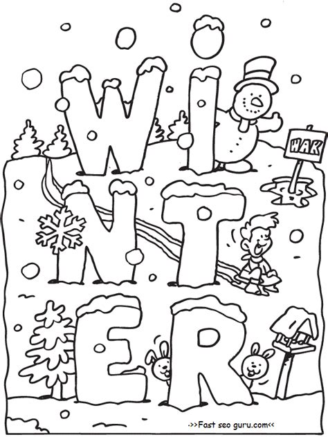free printable winter coloring pages snow sled kids preschoolers kids coloring pages