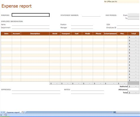Expense Report Excel Template Excel Expense Template