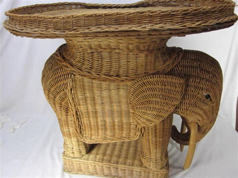 Wicker Elephant Table by Vintage Wicker Rattan Elephant W Trunk Side Table