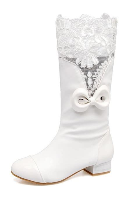 Tragen Bow Casual Boots white toe chunky lace stitching bow casual mid calf