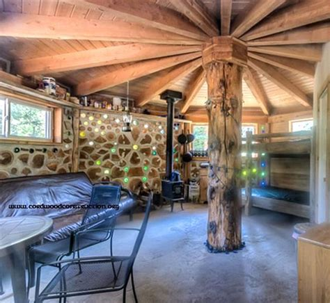 Log Cabin Homes Interior by Cordwood House Near Idaho City Interior