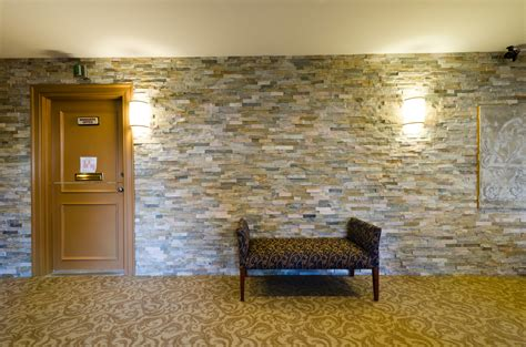 Home Wall Design Interior Creative Faux Panels For Wall Interior Decor Combined With Brown Carpet Tiles With Flower