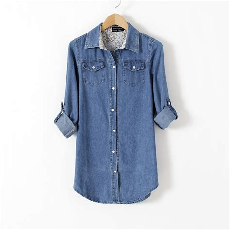Denim Blouse denim shirt for chambray blouse with breast pocket