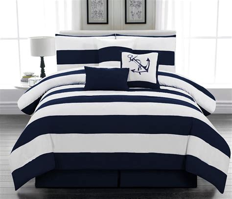 Bluss Set navy blue and white comforter and bedding sets