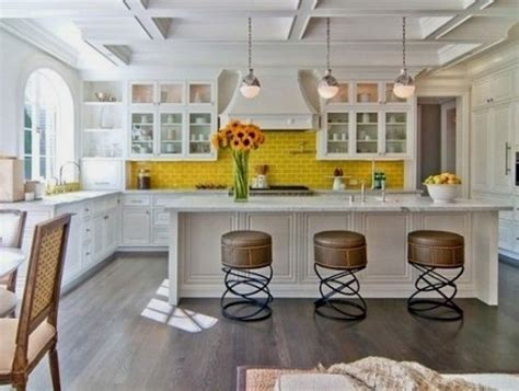 backsplash for yellow kitchen 35 ways to use subway tiles in the kitchen digsdigs