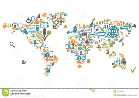 world map composed from social web icons royalty free