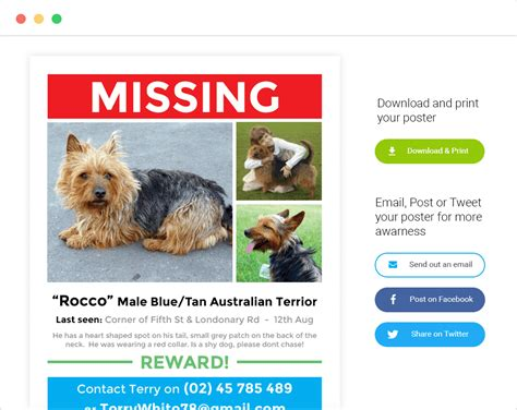 design a poster on your missing pet lost pet poster generator pod trackers
