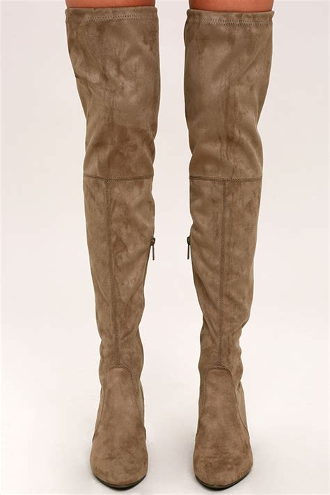 taupe the knee suede boots chic taupe suede boots the knee boots vegan suede