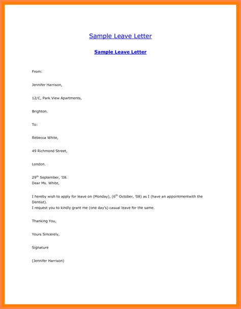 format of application letter for casual leave 9 casual leave application sle receipts template