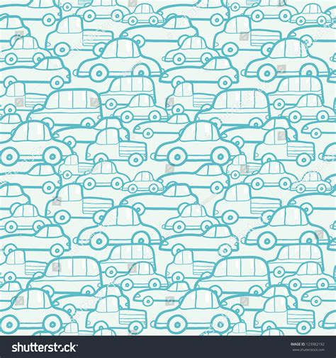 auto pattern finder doodle cars seamless pattern background stock vector