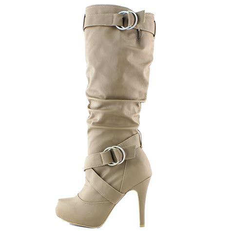 taupe beige leather boots stiletto high heel platform mid