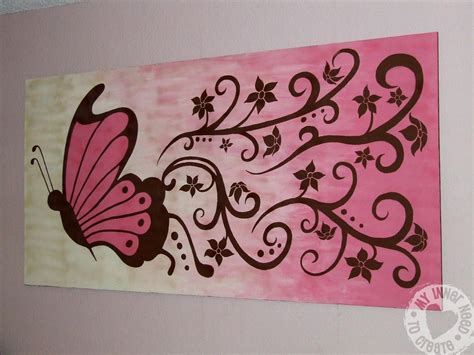 easy wall mural ideas my inner need to create brown and pink butterfly and flower mural