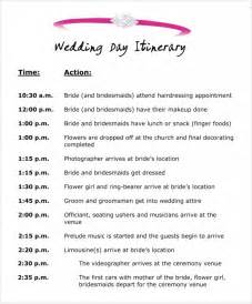 Bridal Itinerary Template by Wedding Itinerary Template 8 Free Documents In