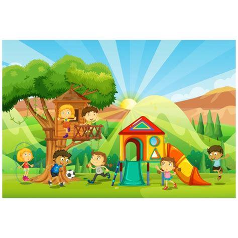 imagenes de niños jugando en un parque ni 241 os jugando en un parque infantil descargar vectores