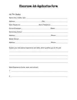 printable job applications for high school students classroom job application elementary and middle school